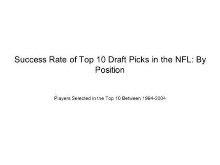 Success Rate of Top 10 Draft Picks in the NFL: By Position Players Selected in the Top 10 Between 1994-2004.