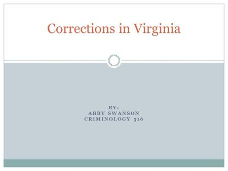 BY: ABBY SWANSON CRIMINOLOGY 516 Corrections in Virginia.