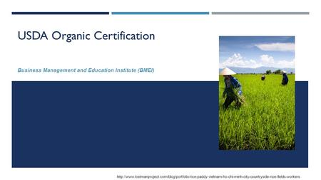 USDA Organic Certification Business Management and Education Institute (BMEI)