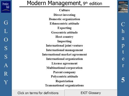 Chapter5Chapter5 GLOSSARYGLOSSARY EXIT Glossary Modern Management, 9 th edition Click on terms for definitions Culture Direct investing Domestic organization.