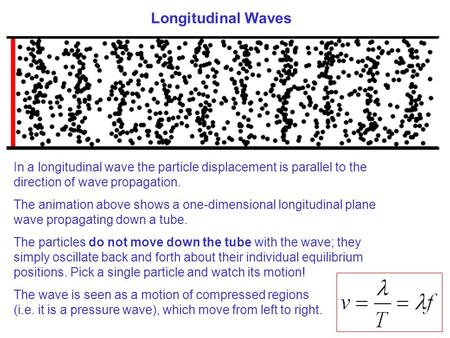 In a longitudinal wave the particle displacement is parallel to the direction of wave propagation. The animation above shows a one-dimensional longitudinal.