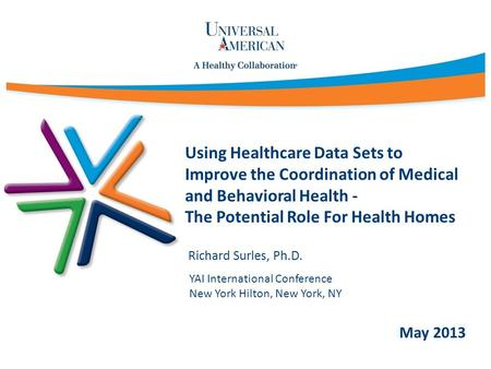 Using Healthcare Data Sets to Improve the Coordination of Medical and Behavioral Health - The Potential Role For Health Homes Richard Surles, Ph.D. May.