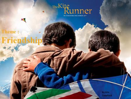 Theme : Friendship By Alix Crawford. In the kite runner Amir is a character shown to be cowardly, selfish and unfair to Hassan, who is brave and intensely.