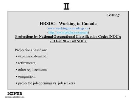 1 HRSDC: Working in Canada (www.workingincanada.gc.ca) (http://www.bcjobs.ca/careers) Projections by National Occupational Classification Codes (NOC):