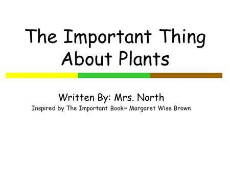 The Important Thing About Plants Written By: Mrs. North Inspired by The Important Book~ Margaret Wise Brown.