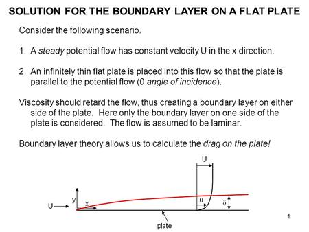 1 SOLUTION FOR THE BOUNDARY LAYER ON A FLAT PLATE Consider the following scenario. 1.A steady potential flow has constant velocity U in the x direction.