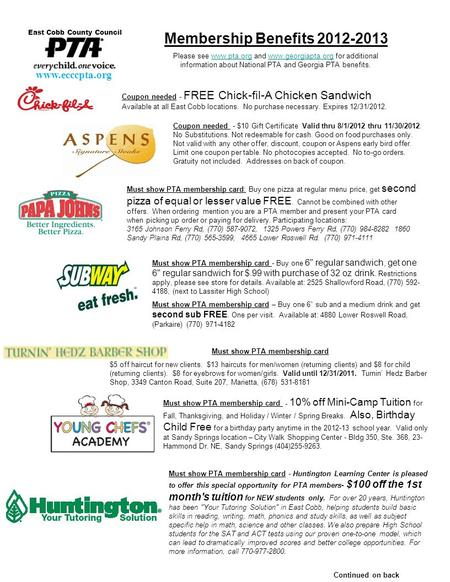 Coupon needed - FREE Chick-fil-A Chicken Sandwich Available at all East Cobb locations. No purchase necessary. Expires 12/31/2012. Continued on back Membership.