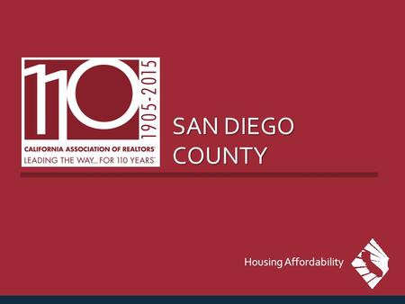 SAN DIEGO COUNTY Housing Affordability. MEDIAN PRICE OF EXISTING DETACHED HOMES San Diego County, Jan. 2015: $496,380, Up 3.6% YTY SERIES: Median Price.