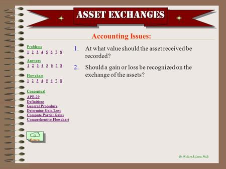 Asset Exchanges Accounting Issues: Dr. Wallace R. Leese, Ph.D. 1.At what value should the asset received be recorded? 2.Should a gain or loss be recognized.