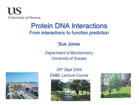 Protein DNA Interactions From interactions to function prediction Sue Jones Department of Biochemistry University of Sussex 20 th Sept 2004 EMBL Lecture.