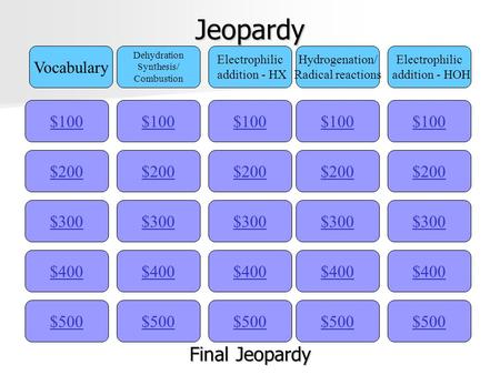 Jeopardy $100 Vocabulary Dehydration Synthesis/ Combustion Electrophilic addition - HX Hydrogenation/ Radical reactions Electrophilic addition - HOH $200.