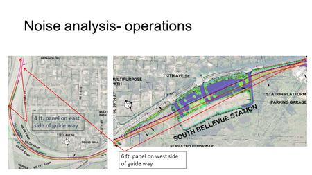 Noise analysis- operations 6 ft. panel on west side of guide way 4 ft. panel on east side of guide way.