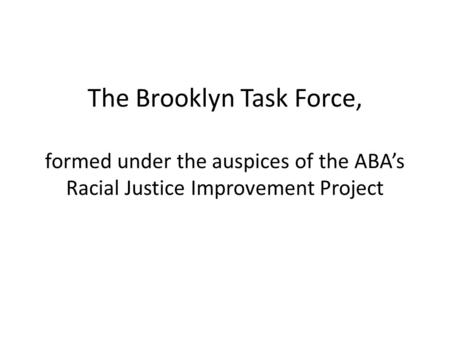 The Brooklyn Task Force, formed under the auspices of the ABA's Racial Justice Improvement Project.