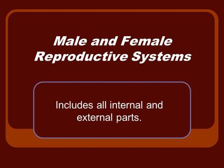 Male and Female Reproductive Systems Includes all internal and external parts.