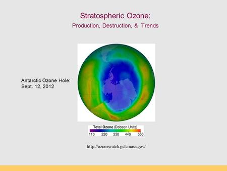Stratospheric Ozone: Production, Destruction, & Trends  Antarctic Ozone Hole: Sept. 12, 2012.