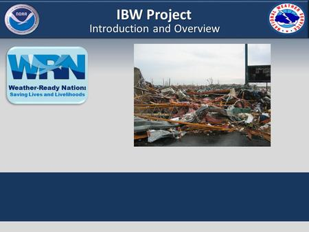 IBW Project Introduction and Overview. IBW Project Goals of This Training Provide an overview on IBW rationale Provide guidelines on application of IBW.