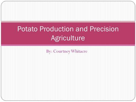 By: Courtney Whitacre Potato Production and Precision Agriculture.