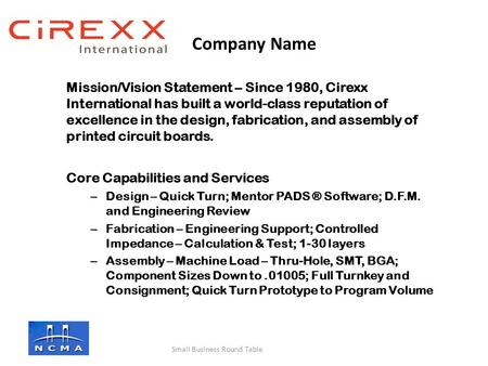 Mission/Vision Statement – Since 1980, Cirexx International has built a world-class reputation of excellence in the design, fabrication, and assembly of.