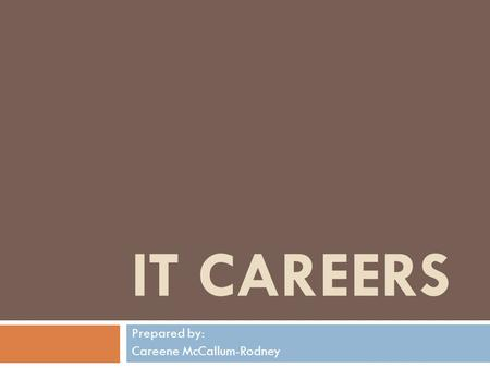 IT CAREERS Prepared by: Careene McCallum-Rodney. Computer Technician  Computer technicians:  install,  repair,  maintain,  and analyze many different.