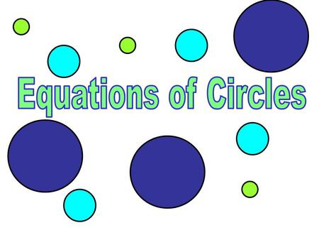 Standard Form of a Circle Center is at (h, k) r is the radius of the circle.