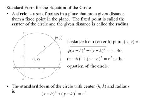 Standard Form for the Equation of the Circle A circle is a set of points in a plane that are a given distance from a fixed point in the plane. The fixed.