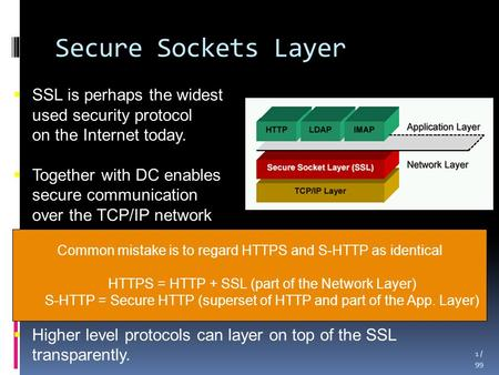 Secure Sockets Layer 1 / 99  SSL is perhaps the widest used security protocol on the Internet today.  Together with DC enables secure communication.