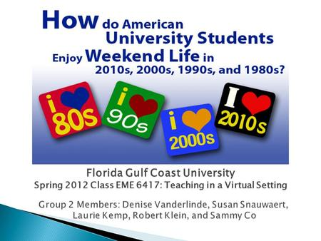 Florida Gulf Coast University Spring 2012 Class EME 6417: Teaching in a Virtual Setting.