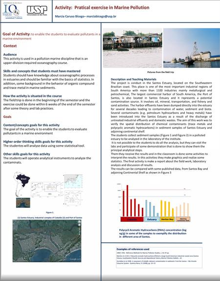 Activity: Pratical exercise in Marine Pollution Marcia Caruso Bícego– Description and Teaching Materials The project is conduct in.
