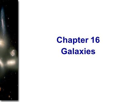 Galaxies Chapter 16. Galaxies Star systems like our Milky Way Contain a few thousand to tens of billions of stars. Large variety of shapes and sizes.