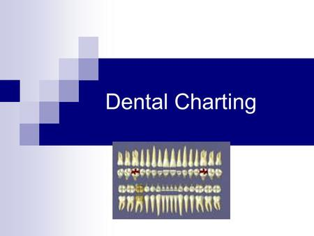 Dental Charting. Objectives Draw symbols that represent…  Existing Restorations Conditions  Blue  Treatment Needs to be completed  Red Read and understand.