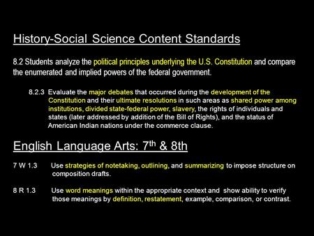 History-Social Science Content Standards 8.2 Students analyze the political principles underlying the U.S. Constitution and compare the enumerated and.