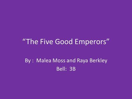 """The Five Good Emperors"""