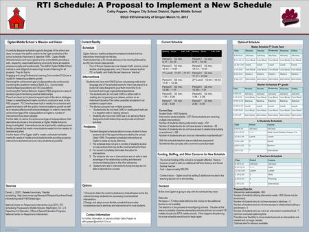POSTER TEMPLATE BY: www.PosterPresentations.com RTI Schedule: A Proposal to Implement a New Schedule Cathy Poppen, Oregon City School District, Ogden Middle.