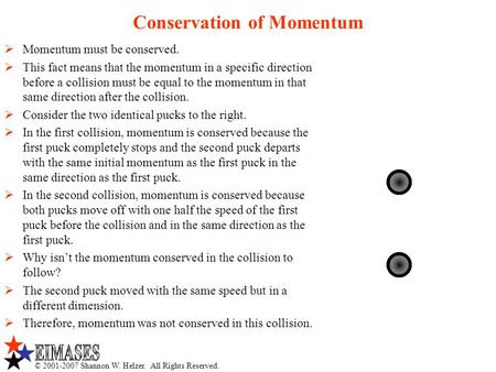 © 2001-2007 Shannon W. Helzer. All Rights Reserved. Conservation of Momentum  Momentum must be conserved.  This fact means that the momentum in a specific.