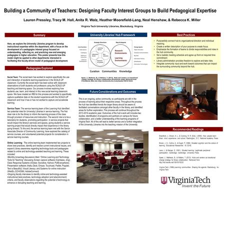 Building a Community of Teachers: Designing Faculty Interest Groups to Build Pedagogical Expertise Lauren Pressley, Tracy M. Hall, Anita R. Walz, Heather.