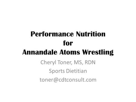 Performance Nutrition for Annandale Atoms Wrestling