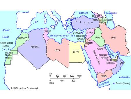 1.This map shows North Africa and the Middle East. Which countries are you familiar with and why? 2.Why might these countries be studied as one region?