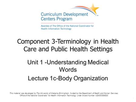 Component 3-Terminology in Health Care and Public Health Settings