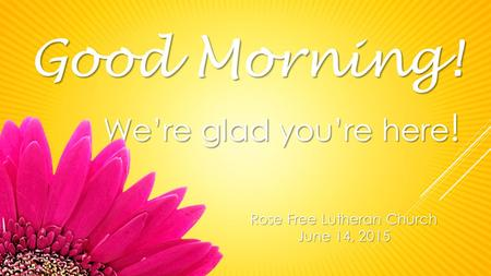 Rose Free Lutheran Church June 14, 2015 Good Morning! We're glad you're here !