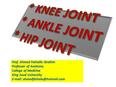 * KNEE JOINT * ANKLE JOINT * HIP JOINT