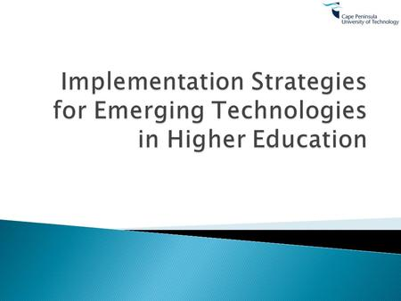  Defining e-learning and the role of emerging technologies  What do we know about impact of technology on pedagogy – ePedagogy  Identify the technologies.