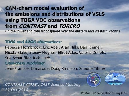 CAM-chem model evaluation of the emissions and distributions of VSLS using TOGA VOC observations from CONTRAST and TORERO (in the lower and free troposphere.