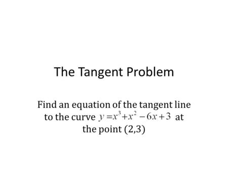 Find an equation of the tangent line to the curve at the point (2,3)