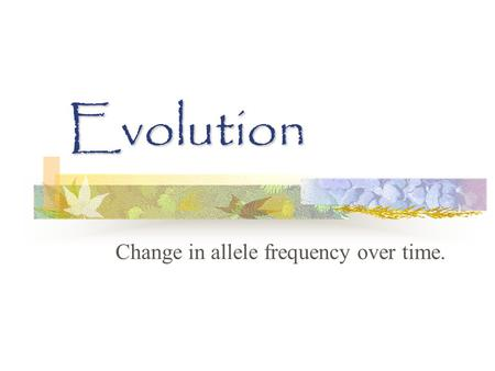 Evolution Change in allele frequency over time.. Why do we resemble our parents? Hereditary – passing of traits from parent to offspring Traits – an aspect.