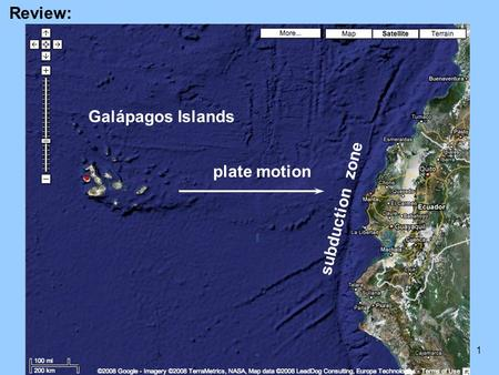 Review: Galápagos Islands plate motion subduction zone.