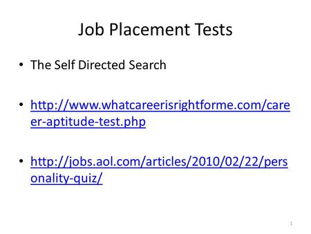 Job Placement Tests The Self Directed Search  er-aptitude-test.php