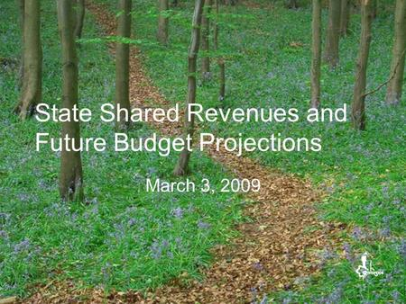 State Shared Revenues and Future Budget Projections March 3, 2009.