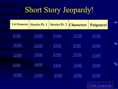 Short Story Jeopardy! Lit Elements Stories Pt. 1Stories Pt. 2 Potpourri $100 $200 $300 $400 $500 $100 $200 $300 $400 $500 Final Jeopardy Characters.