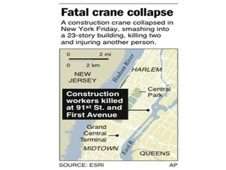 Damage is seen at the site of a crane collapse at 91st Street and First Avenue in New York May 30, 2008. The large crane collapsed in New York City on.