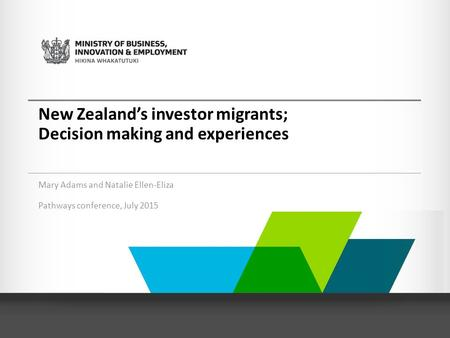 New Zealand's investor migrants; Decision making and experiences Mary Adams and Natalie Ellen-Eliza Pathways conference, July 2015.
